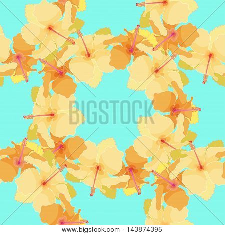 Seamless Pattern With Cute Hibiscus. Vector Illustration