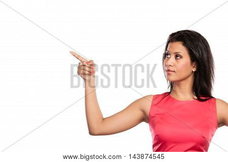 Pretty Woman Pointing At Empty Blank Copy Space.