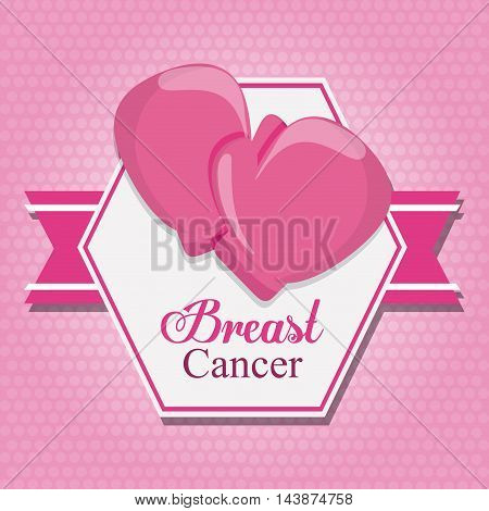 ribbon boxing gloves breart cancer awareness campaign foundation icon. Pink design. Vector illustration