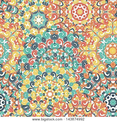 Seamless colorful ethnic pattern with mandalas in oriental style. Round doilies with green, red, yellow, orange curls and swirls weaving in arabesque traditional lace ornament. Vector illustration.