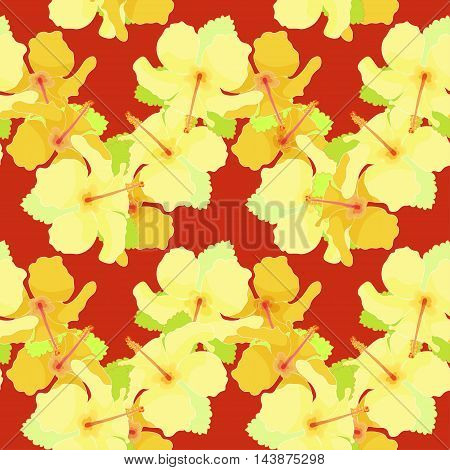 Seamless Pattern With Hibiscus On A Dark Red Background. Vector Illustration