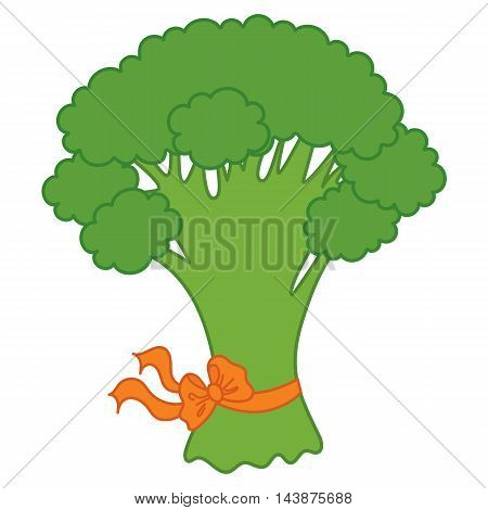 Vector green curly broccoli with orange ribbon