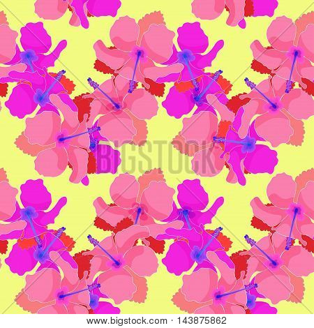 Seamless Pattern With Hibiscus On Yellow Background. Vector Illustration