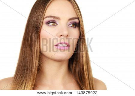 Woman Gorgeous Girl Long Hair Face Makeup