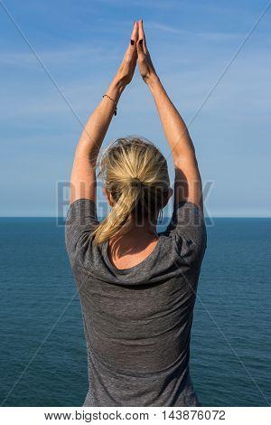 Woman Posing Ocean Water Horizon Diving Arms
