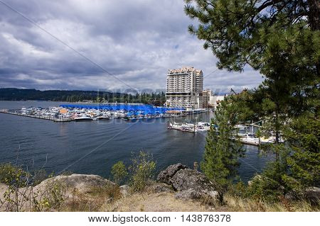 Beautiful view of a marina and part of downtown Coeur d'Alene taken from locally famous Tubbs Hill.