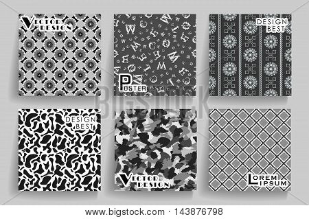 Pack Of 6 In 1 Vintage Greyscale Seamless Abstract Backgrounds. Use For Posters, Cards, Covers, Plac