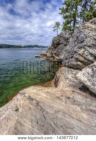 The rocky shores of Tubbs Hill along Coeur d'Alene Lake in Idaho.