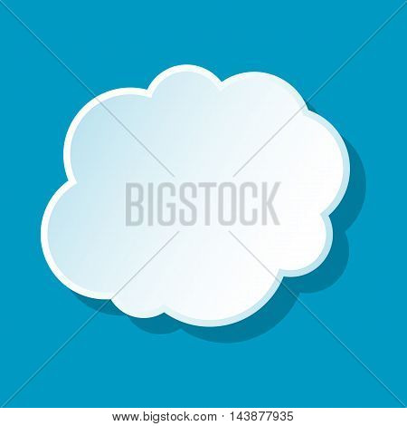 Cloud on sky icon on blue background. Weather symbol