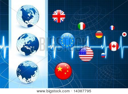 Globes with Flags internet Buttons Original Vector Illustration