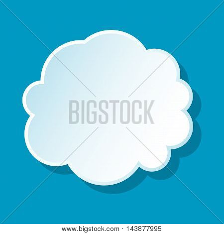 Round cloud icon on blue background. Weather symbol