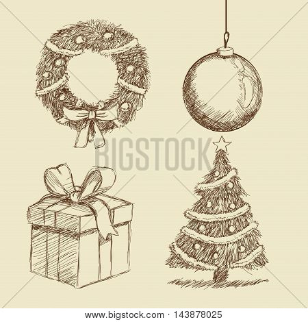 gift present sphere crown pine tree merry christmas decoration celebration icon. Isolated draw and sketch design. Vector illustration
