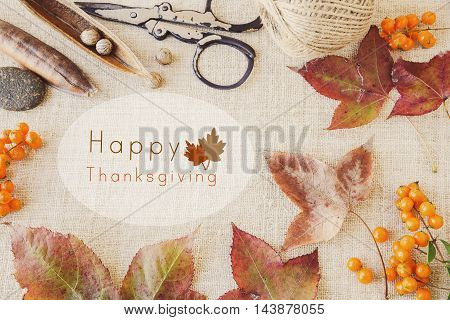 Happy thanksgiving on autumn fall craft toning background
