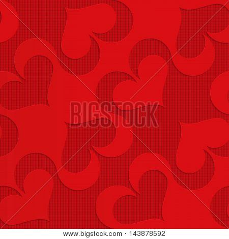 Red Diagonal Spades On Checkered Background