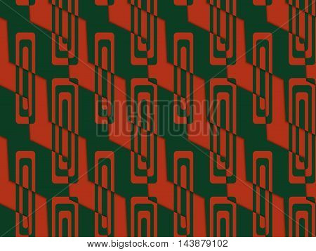 Retro 3D Green And Red Zigzag Cut With Rectangles