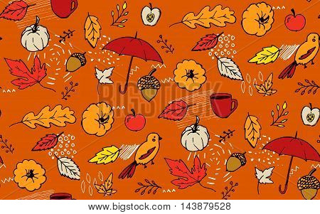 Autumn background. Orange seamless pattern with doodle umbrella, maple leaves, pumpkin and acorns. Hand drawn vector texture