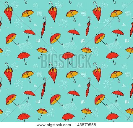 Umbrella pattern. Vector seamless texture with hand drawn ilustrations of open and closed umbrellas at blue background