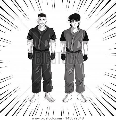 man boy young anime manga comic cartoon fight icon. Black white grey striped and isolated design. Vector illustration