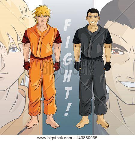man boy young anime manga comic cartoon fight game icon. Colorful design. Vector illustration