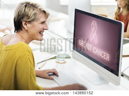 Breast Cancer Support Fight Care Hope Graphic Concept
