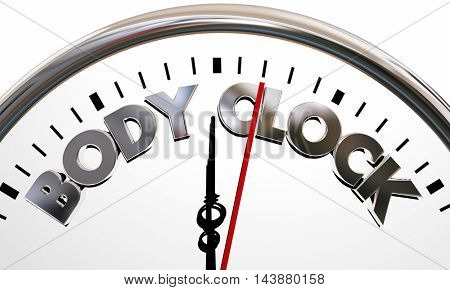 Body Clock Health Wellness Life Longevity Words 3d Illustration