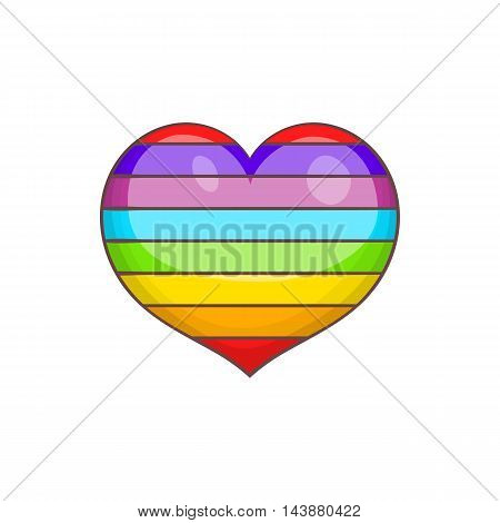 Heart in colours of LGBT icon in cartoon style isolated on white background. Tolerance symbol