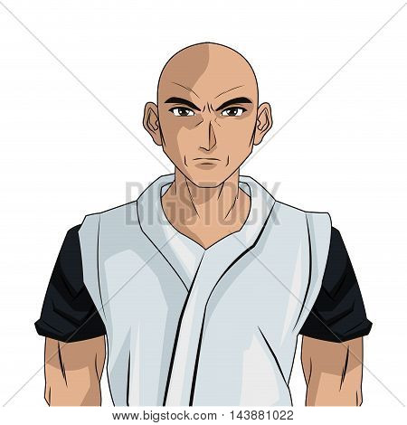 man boy young no hair anime manga comic cartoon fight game icon. Colorful and isolated design. Vector illustration