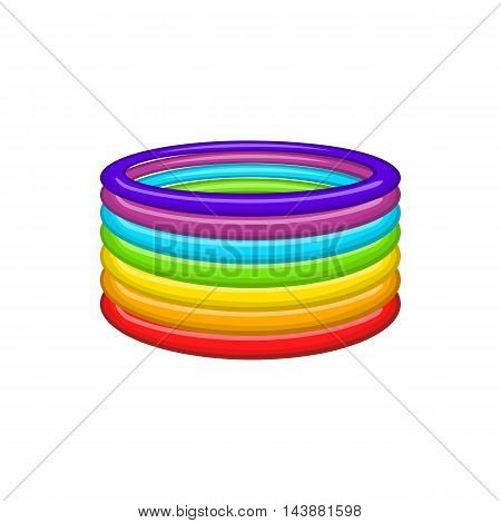 Rings in colours of LGBT icon in cartoon style isolated on white background. Tolerance symbol