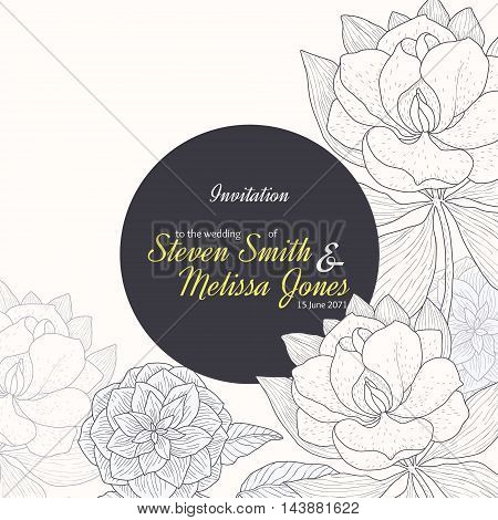 Vector Vintage Yellow Black Frame Floral Drawing Wedding Invitation With Stylish Flowers and Text In Classic Retro Design. Perfect for invinations, packaging, announcements, menu, scrapbooking.