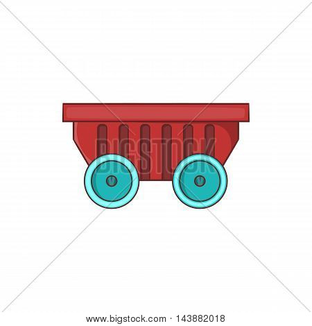 Cart on wheels icon in cartoon style isolated on white background. Transportation symbol