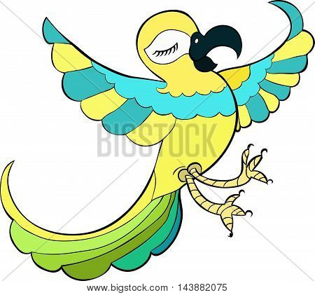 Caribbean Dancers A Parrot Happy. Vector Illustration