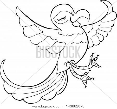 Coloring Fun Dancing To The Caribbean Parrot. Vector Illustration