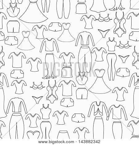 Coloring Seamless Pattern With A Women's Clothing. Vector Illustration