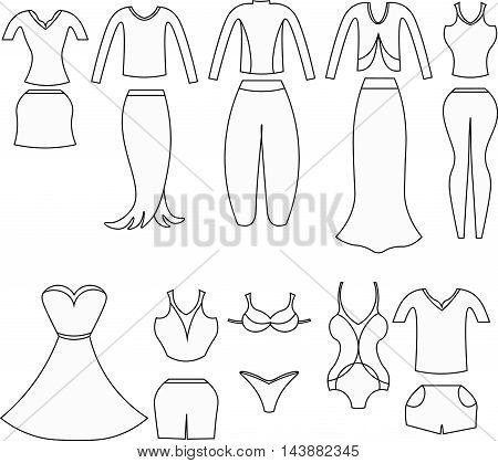 Coloring Set Of Clothes For Women. Vector Illustration