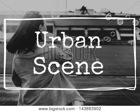 Urban Scene City Metropolis Place Town Location Concept