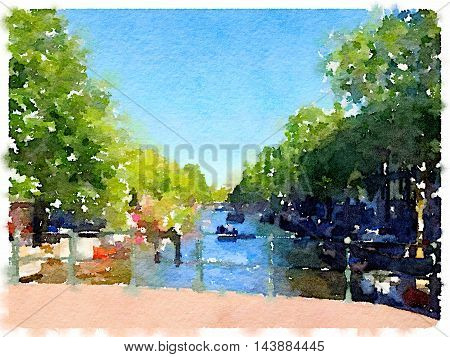 Digital watercolor painting of a bridge over the canal in Amsterdam with boats in the water and trees on the side. Space for text.
