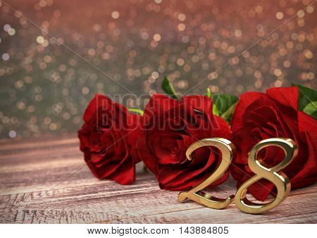 birthday concept with red roses on wooden desk. 3D render - twenty-eighth birthday. 28th