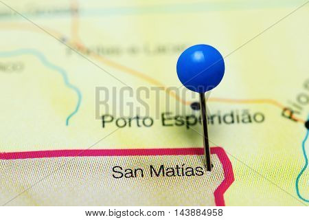 San Matias pinned on a map of Bolivia