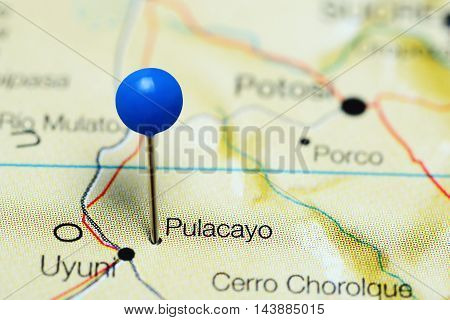 Pulacayo pinned on a map of Bolivia
