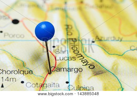 Camargo pinned on a map of Bolivia