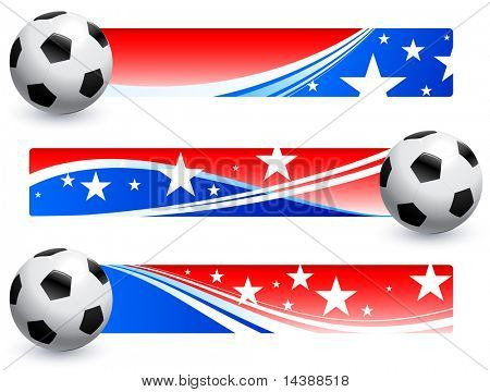 Soccer (football) Ball with American Banners Original Vector Illustration AI8 Compatible