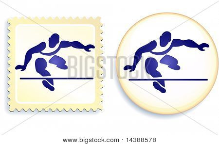 Runner Stamp and Button Original Vector Illustration