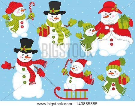 Vector Christmas snowmen set with candy stick, gift boxes and sledge