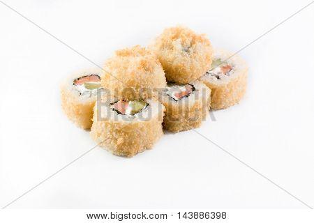 Fried seafood sushi kimbap on white background