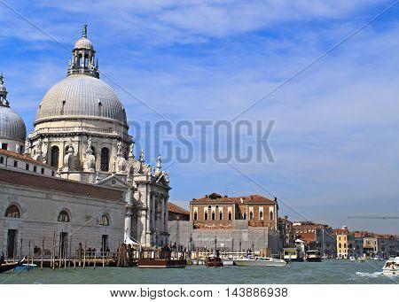 Grand Canal and Santa Maria Della Salute in Venice Italy