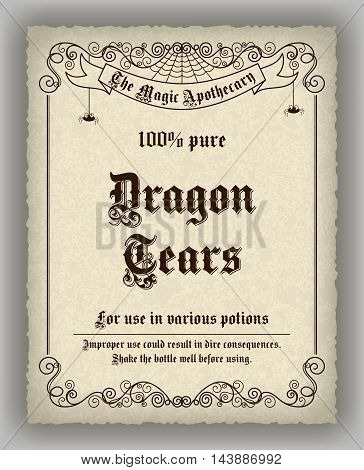 Halloween apothecary label in retro style. Vector illustration