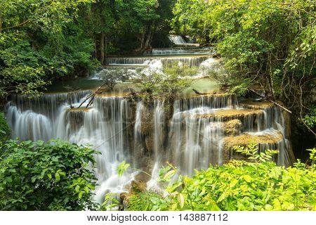 Water fall Hua Mae Kamin level 4 Kanchanaburi Thailand
