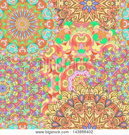 Colorful seamless pattern mandala can be used for wallpaper pattern fills web page background surface textures. Happy design pattern. Arabic India Islam Asia.