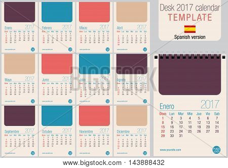 Useful desk calendar 2017 template in pastel colors, ready for printing on laser or offset. Size: 150mm x 210mm. Format A5 vertical. Spanish version
