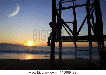 Boy silhouette is a child sitting at the beach with the sun setting and crescent moon rising in the sky as he dreams